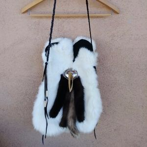 1980s Rabbit Mink Fur Bag Satchel Unisex